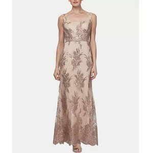 SLNY Dresses - SLNY Womens 6 Tan Sequin Chiffon 2Pc Gown NWT CJ28
